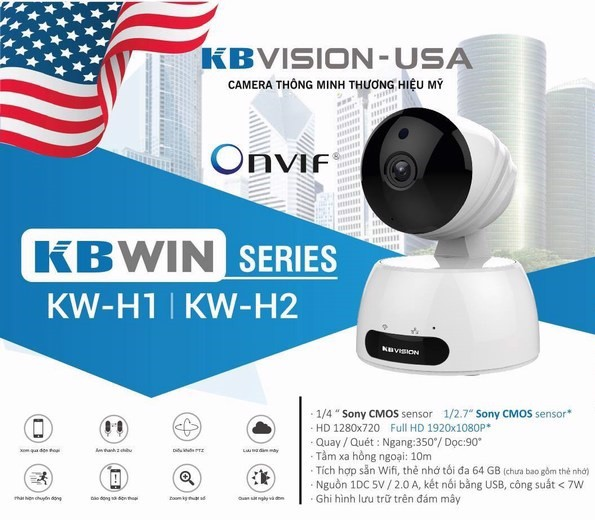 Camera IP hồng ngoại không dây 2.0 Megapixel KBVISION KBWIN KW-H2 - TẶNG THẺ NHỚ 32G