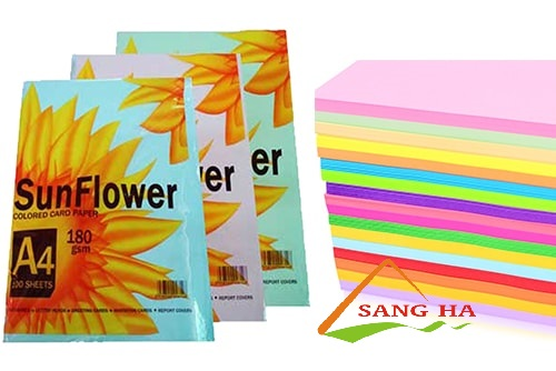 Giấy bìa màu A4 SunFlower 180gms 5 màu (Thái Lan)