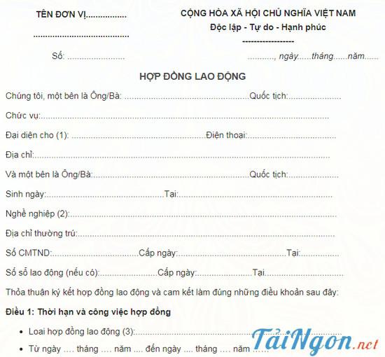 Hợp Đồng Lao Động song ngữ