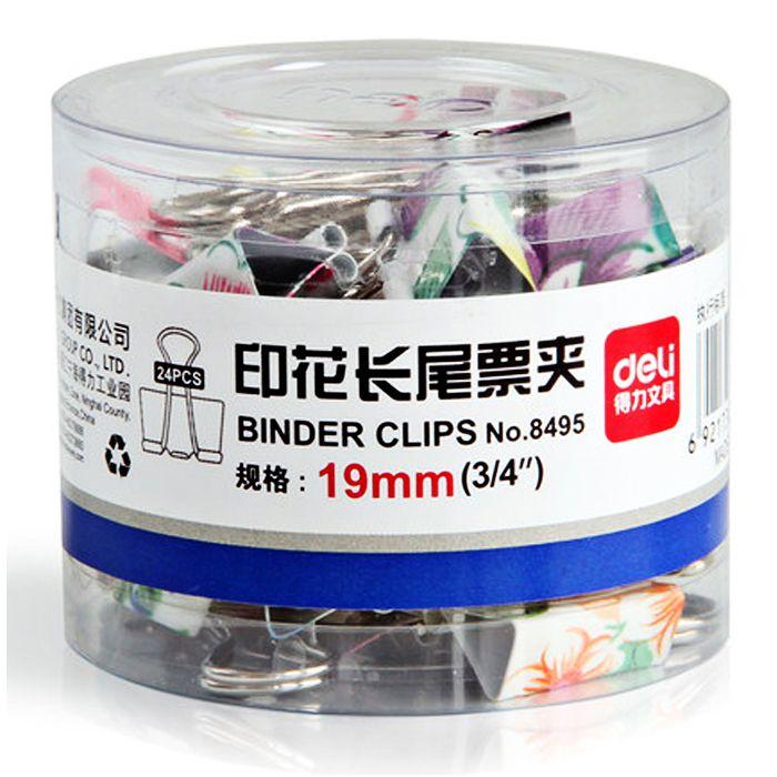 Kẹp Bướm Màu Hoa 19mm Deli - 8495