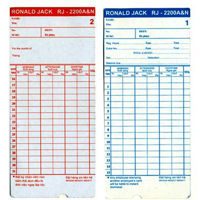 Thẻ giấy chấm công RJ