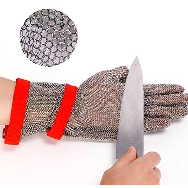 Găng Tay Bảo Hộ Chống Cắt Inox Có Vải Dệt Cổ Tay Dài 30cm