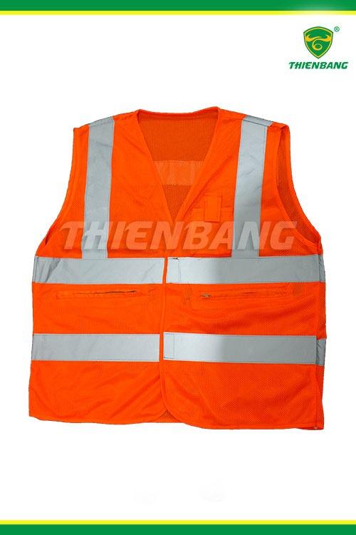 Áo phản quang cam ép dây dệt 5cm