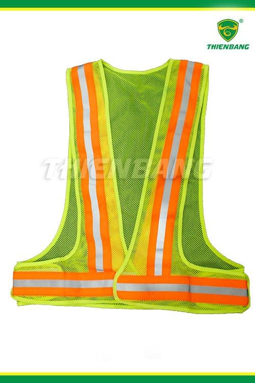 Áo phản quang xanh ép dây dệt cam