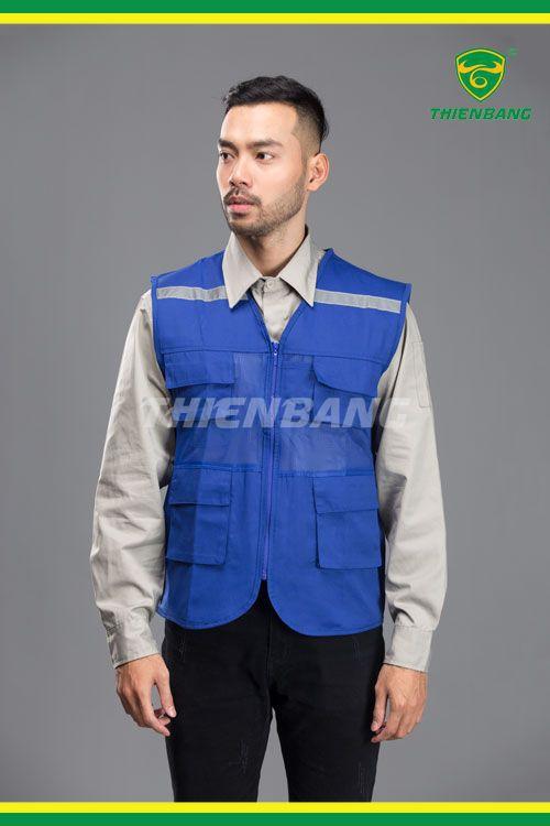 Áo gile phản quang xanh