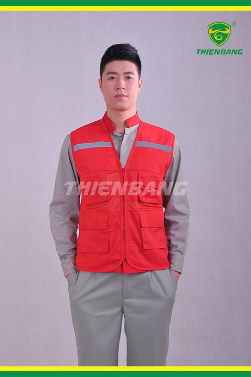 Áo ghi lê phản quang đỏ