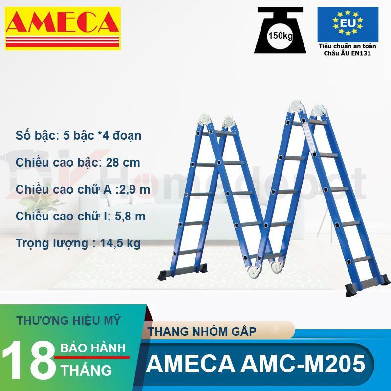 Thang nhôm gấp đoạn AMECA AMC-M205