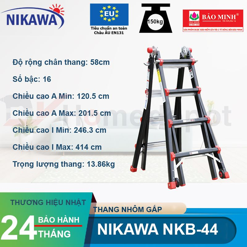 Thang nhôm gấp đa năng Nikawa NKB-44
