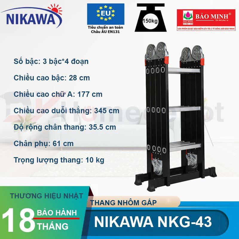 Thang nhôm gấp đoạn Nikawa NKG-43