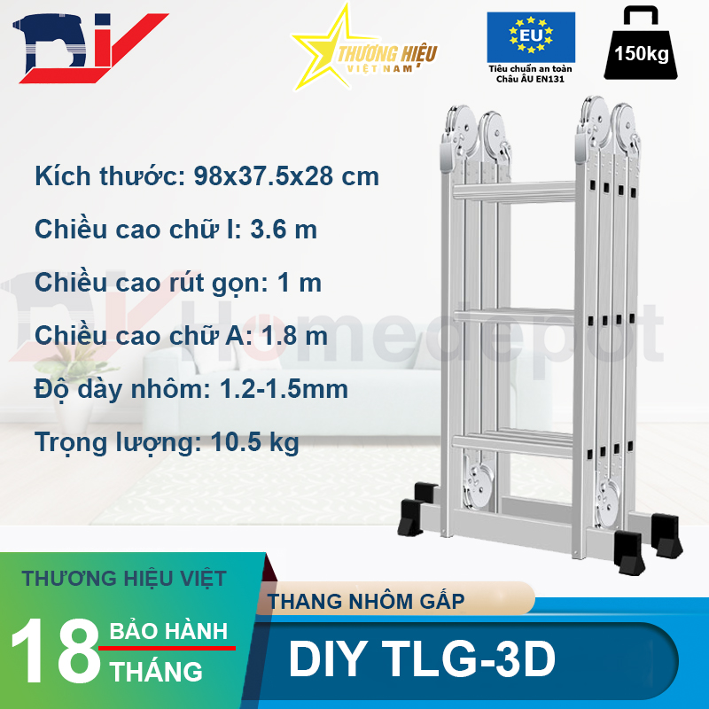 Thang nhôm gấp đoạn DIY TLG-3D