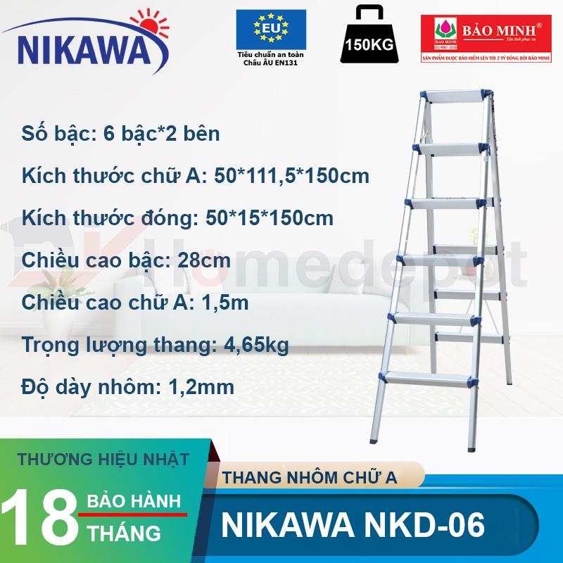 Thang nhôm gấp chữ A Nikawa NKD-06