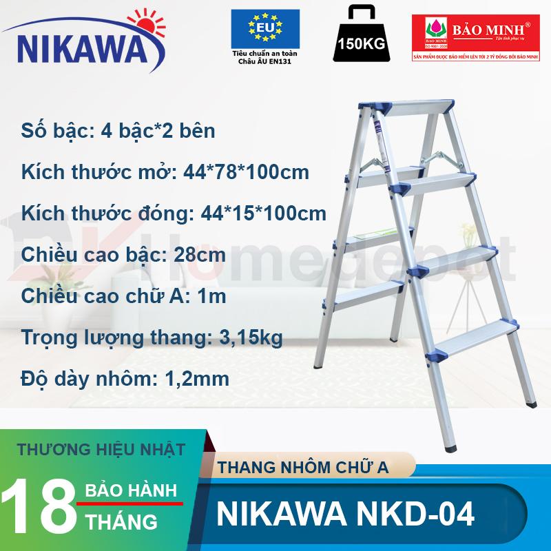 Thang nhôm gấp chữ A Nikawa NKD-04