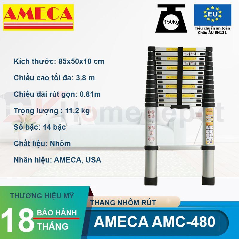 Thang nhôm rút đơn AMECA AMD-480