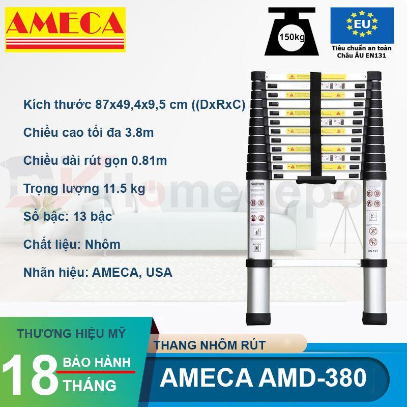 Thang nhôm rút đơn AMECA AMD-380