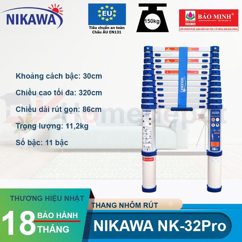 Thang nhôm rút đơn Nikawa NK-32PRO