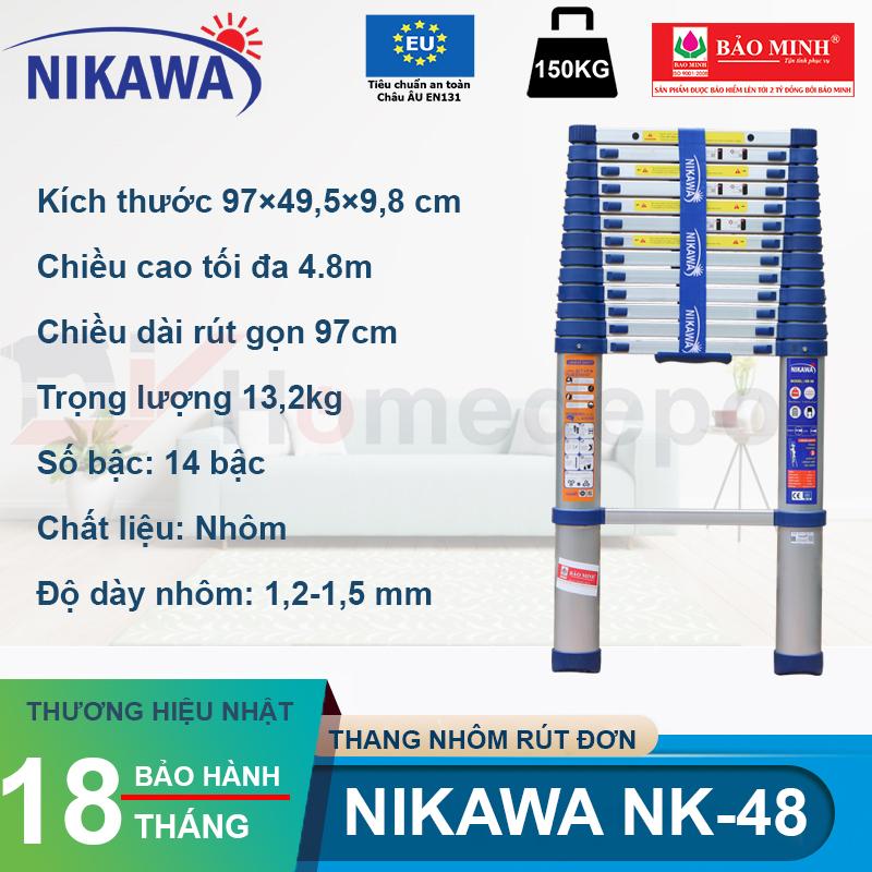 Thang nhôm rút đơn Nikawa NK-48