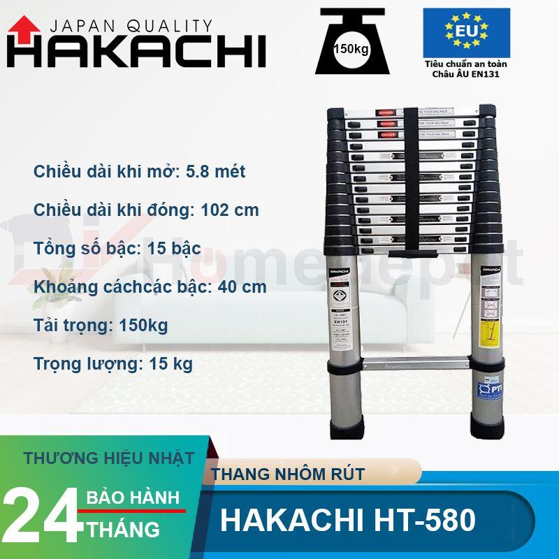 Thang Nhôm Rút Đơn Hakachi HT-580