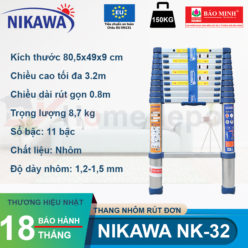 Thang nhôm rút đơn NIKAWA NK-32