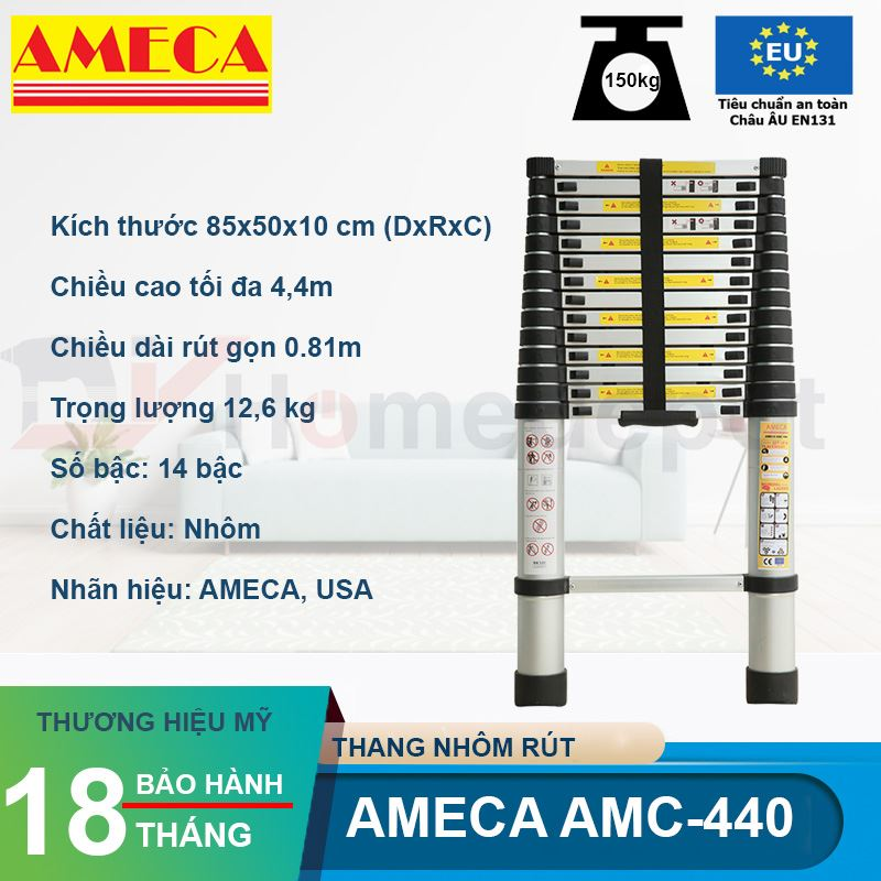 Thang nhôm rút đơn Ameca AMD-440