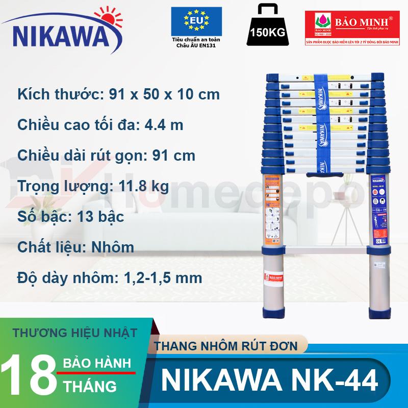Thang nhôm rút đơn Nikawa NK-44