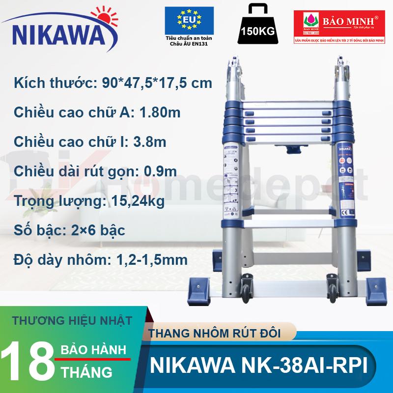 Thang nhôm rút đôi Nikawa NK-38AI-PRI