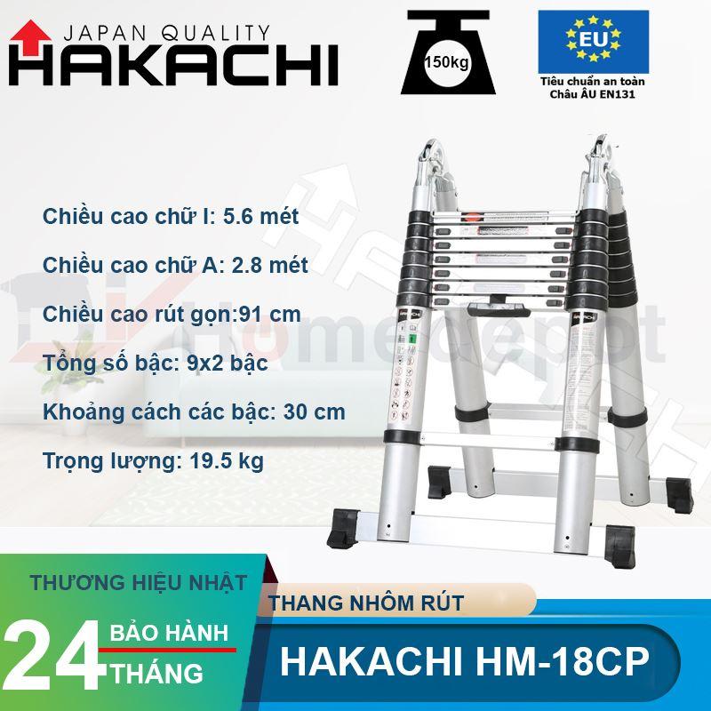 Thang Nhôm Rút Đôi Chữ A Hakachi HM-18CP