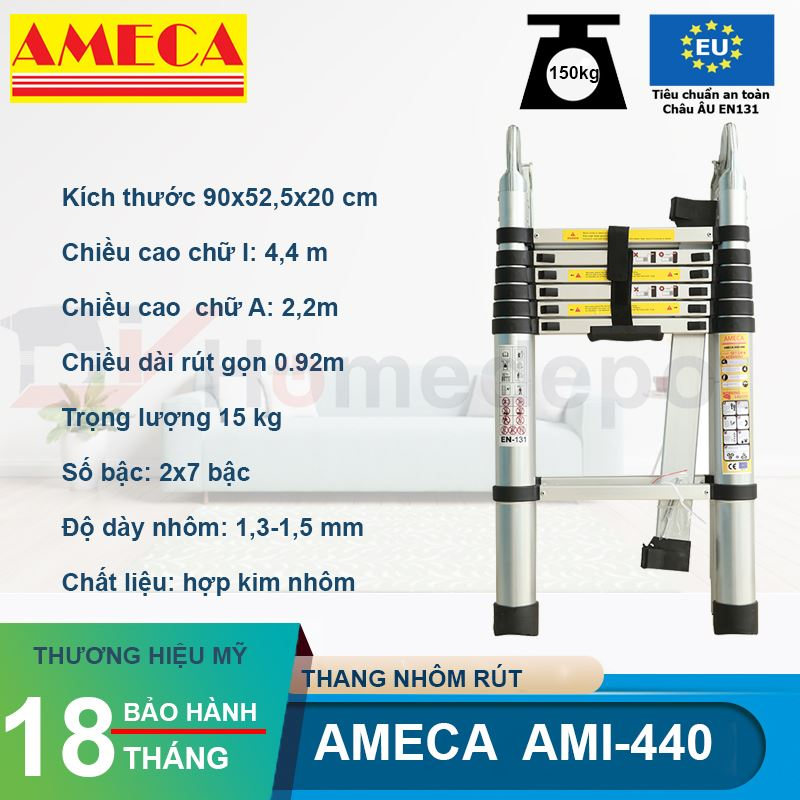 Thang nhôm rút đôi Ameca AMI-440