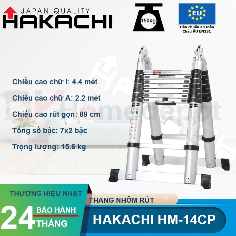 Thang nhôm rút đôi Hakachi HM-14CP