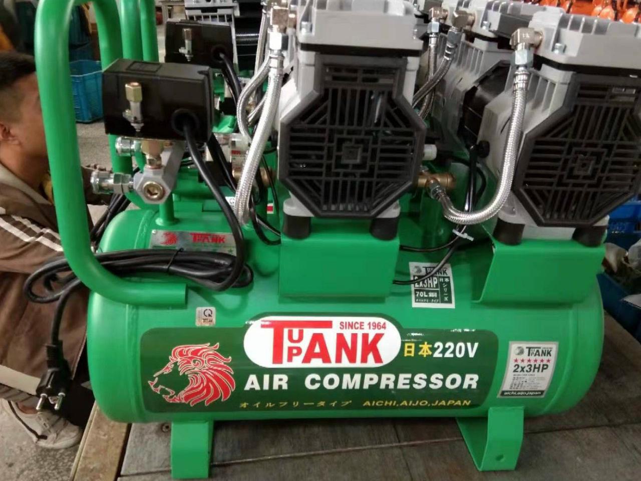 Máy nén khí không dầu, giảm âm TAK-70 (70 lít - 3HP x 2)