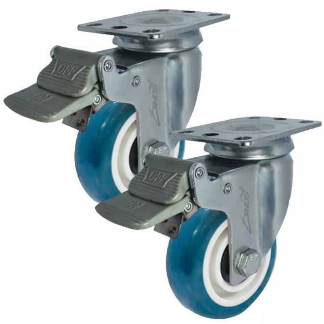 Combo 2 bánh xe đẩy PU xoay có phanh Ethos 273UBY125P01 (120kg)