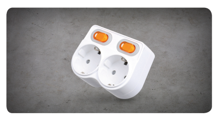 L-Shaped 2-Outlet Port with Individual Switch