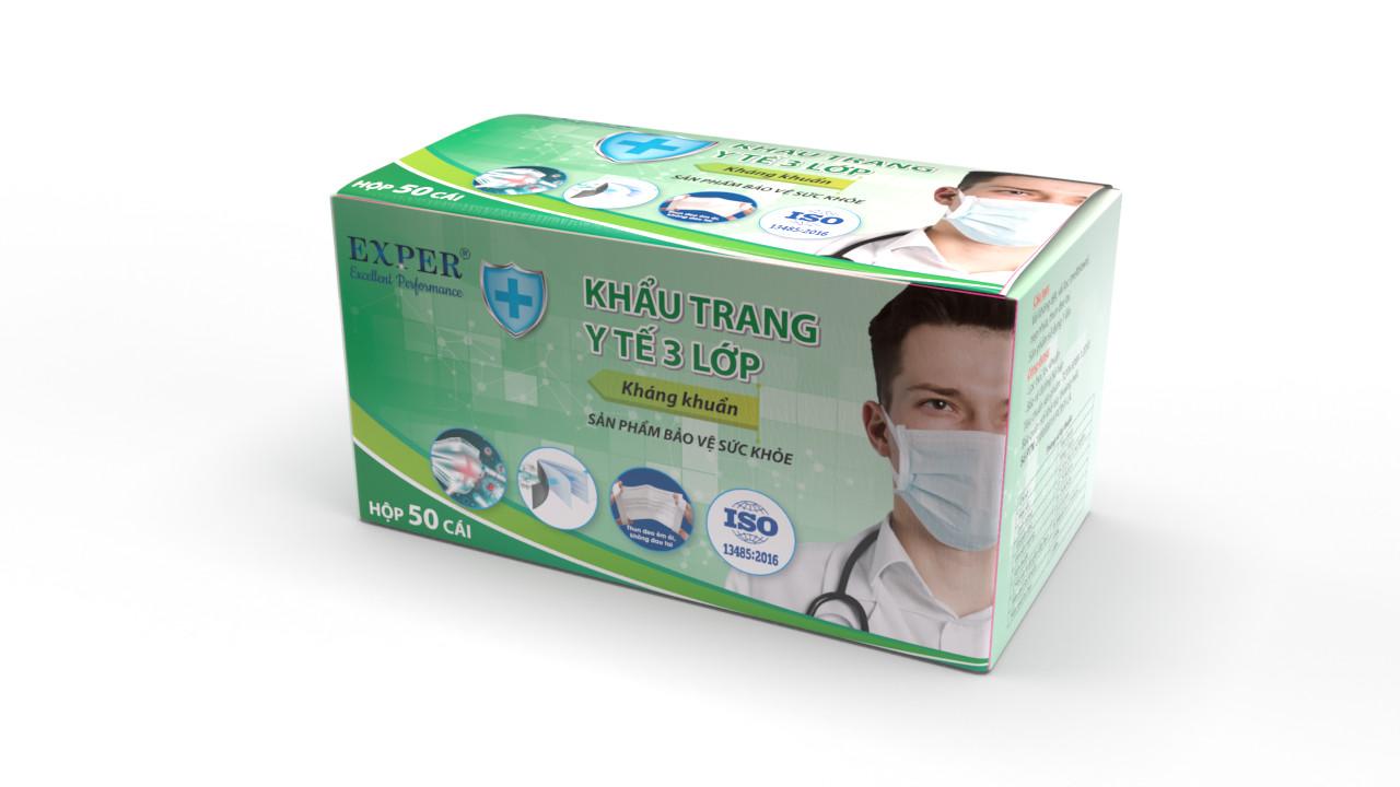 Khẩu trang y tế 3 lớp kháng khuẩn