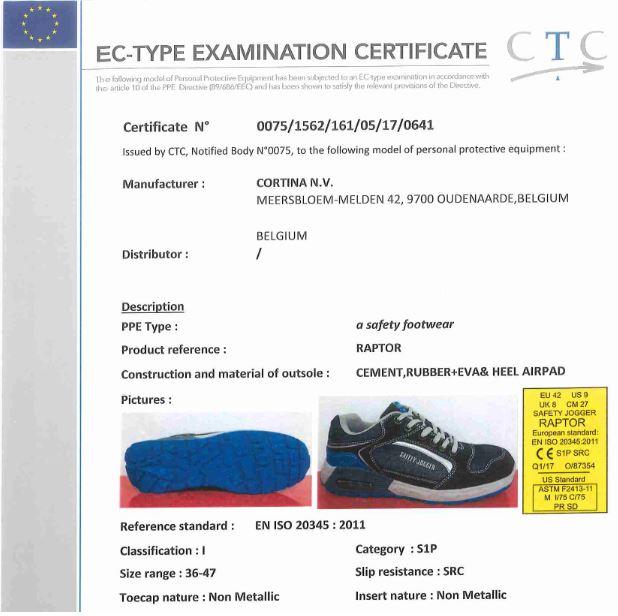 Tiêu chuẩn CE giày bảo hộ Safety Jogger